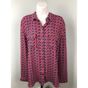 LOFT Red & Blue Floral Print Button Down Shirt